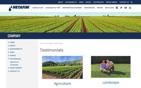 Screenshot of Testimonials Page netafimusa.com - Testimonials - Netafim - captured Oct. 31, 2017