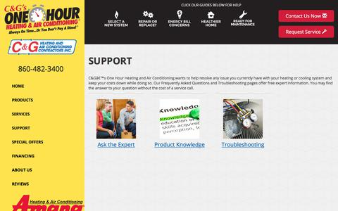 Screenshot of Support Page candghvac.com - Frequently Asked Questions - C&G's One Hour Heating and Air Conditioning, Torrington, CT  06790 -  Amana - captured Oct. 11, 2017