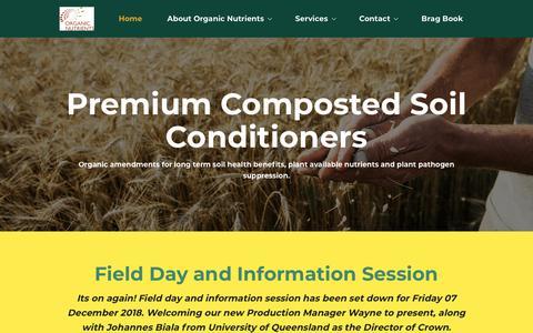 Screenshot of Home Page organicnutrients.com.au captured Oct. 19, 2018