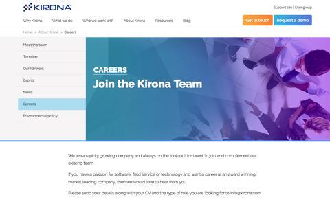 Screenshot of Jobs Page kirona.com - Careers at Kirona | Kirona - captured Nov. 12, 2017
