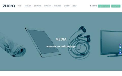 Screenshot of Press Page zuora.com - Solutions for the Media industry - Zuora - captured March 19, 2018