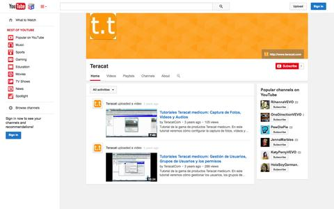 Screenshot of YouTube Page youtube.com - Teracat  - YouTube - captured Nov. 5, 2014