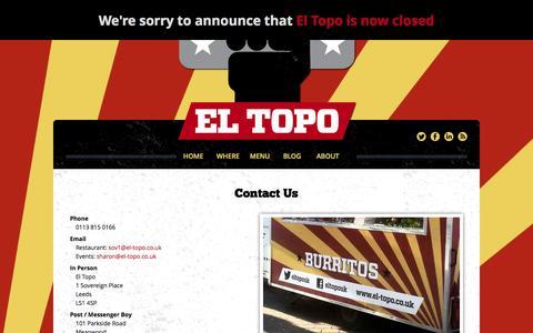 Screenshot of Contact Page el-topo.co.uk - Contact Us | El Topo - captured Sept. 29, 2014