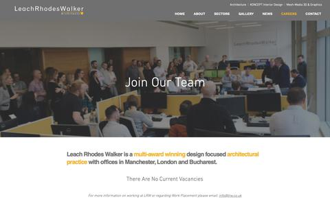 Screenshot of Jobs Page lrw.co.uk - Careers | Manchester | Leach Rhodes Walker Architects - captured Sept. 27, 2018