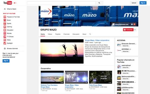 Screenshot of YouTube Page youtube.com - GRUPO MAZO  - YouTube - captured Oct. 23, 2014