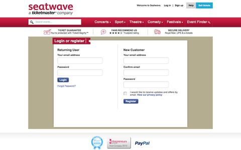 Screenshot of Signup Page Login Page seatwave.com - Tickets | Buy & Sell Concert, Sport & Theatre Tickets | Seatwave.com - captured Dec. 3, 2015