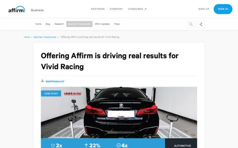 Screenshot of Case Studies Page affirm.com - Offering Affirm is driving real results for Vivid Racing - captured Dec. 4, 2019
