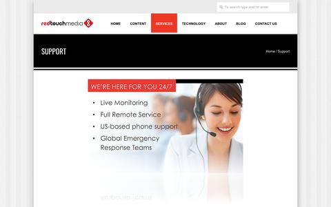 Screenshot of Support Page redtouchmedia.com - Support - captured June 29, 2017