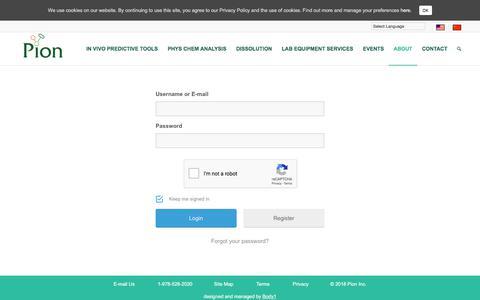 Screenshot of Login Page pion-inc.com - Login | Pion Inc - captured July 18, 2018
