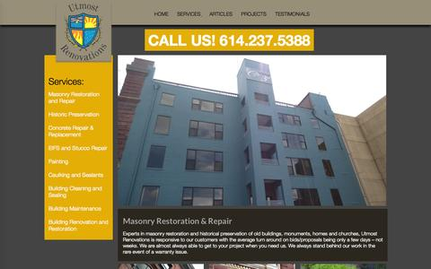 Screenshot of Services Page utmostrenovations.com - Masonry Restoration and Repair - Utmost Renovations - captured Oct. 28, 2014