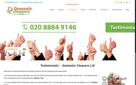 Screenshot of Testimonials Page domestic-cleaners.biz - Client Testimonials | Domestic Cleaners in London | Cleaning Services - captured Oct. 12, 2017