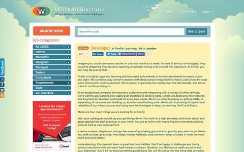Screenshot of Developers Page workinstartups.com - Developer at Firefly Learning Ltd / Work In Startups - captured June 13, 2016