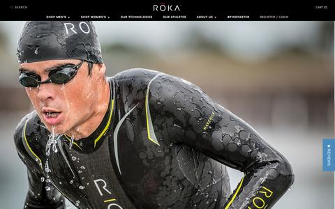 Screenshot of Home Page rokasports.com - Triathlon Wetsuits, Swimskins and SIM Shorts - ROKA Sports - captured Oct. 7, 2014