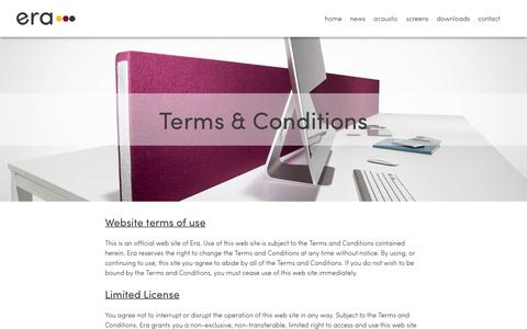 Screenshot of Terms Page erascreens.com - Era Screens | Our Terms & Conditions - captured July 15, 2016