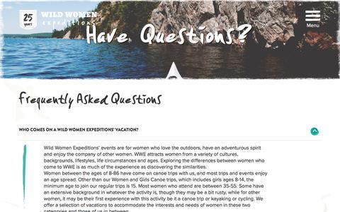 Screenshot of FAQ Page wildwomenexpeditions.com - FAQs |  Wild Women Expeditions - captured Aug. 13, 2016