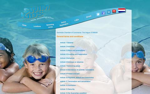 Screenshot of Terms Page swimkids.eu - SwimKids  Terms and conditions - captured Oct. 9, 2014