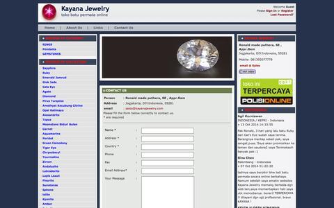 Screenshot of Contact Page kayanajewelry.com - Contact Us » Cincin Permata | batu permata | batu mulia | batu safir | batu akik | cincin batu - captured Nov. 3, 2014