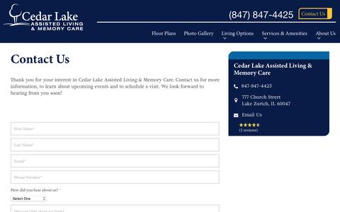 Screenshot of Contact Page spectrumretirement.com - Contact Cedar Lake Assisted Living & Memory Care - captured Jan. 23, 2017