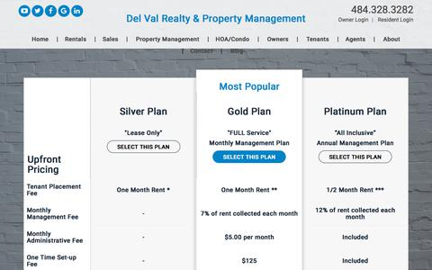 Screenshot of Pricing Page delvalproperty.com - Pricing - captured Oct. 7, 2019