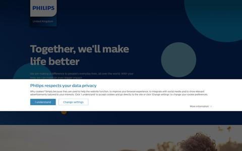 Screenshot of Home Page Site Map Page philips.co.uk - Philips - United Kingdom - captured Jan. 18, 2018