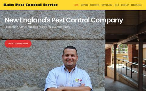 Screenshot of Home Page bainpestcontrol.com - New England's Pest Control Company | Bain Pest Control Service - captured Oct. 5, 2018