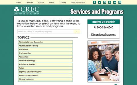 Screenshot of Services Page crec.org - CREC: Services and Programs - captured July 15, 2018