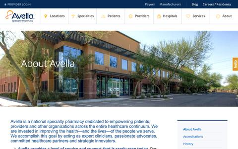 Screenshot of About Page avella.com - Discover Avella Specialty Pharmacy | National Specialty Pharmacy - captured March 12, 2018