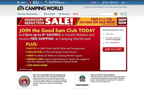 Screenshot of Signup Page campingworld.com - Join the Good Sam Club of Camping World Today and Start Saving 30% everyday! - Camping World - captured Sept. 18, 2014