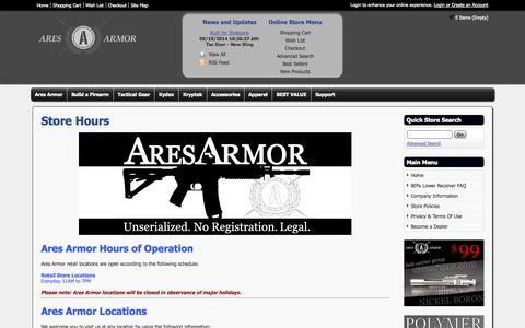 Screenshot of Hours Page aresarmor.com - Store Hours - Ares Armor - captured Sept. 22, 2014
