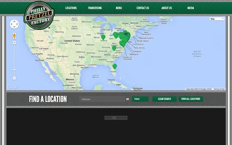 Screenshot of Locations Page phillypretzelfactory.com - Find a Location - Philly Pretzel Factory - captured Sept. 23, 2014