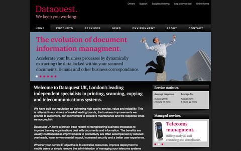 Screenshot of Home Page dataquestuk.com - Dataquest. We keep you working. - captured Oct. 5, 2014