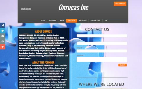 Screenshot of About Page onrucas.com - The Onrucas Story and other info - captured Oct. 26, 2014