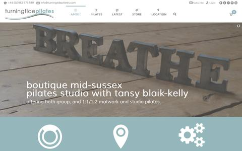Screenshot of Home Page About Page FAQ Page Testimonials Page turningtidepilates.com - turning tide pilates : boutique mid-sussex studio : tansy blaik-kelly - captured Oct. 9, 2014