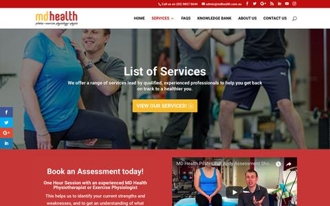 Screenshot of Services Page mdhealth.com.au - Services - MD Health - captured Oct. 1, 2018