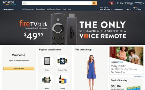 Screenshot of Support Page amazon.com - Amazon.com: Online Shopping for Electronics, Apparel, Computers, Books, DVDs & more - captured Aug. 26, 2016