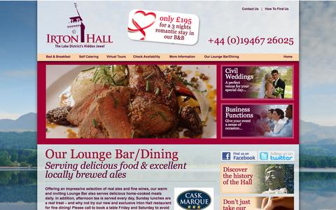 Screenshot of Menu Page irtonhall.co.uk - IRTON HALL | The Lake District's Hidden Jewel  |  Our Lounge Bar & Dining - captured Jan. 9, 2016