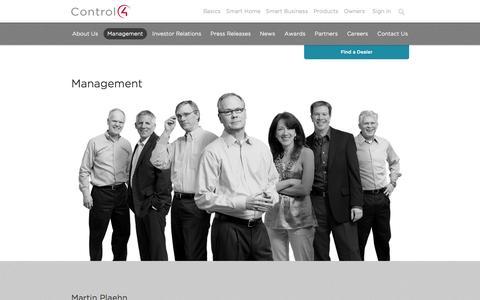 Screenshot of Team Page control4.com - Management | Control4 - captured Sept. 13, 2014