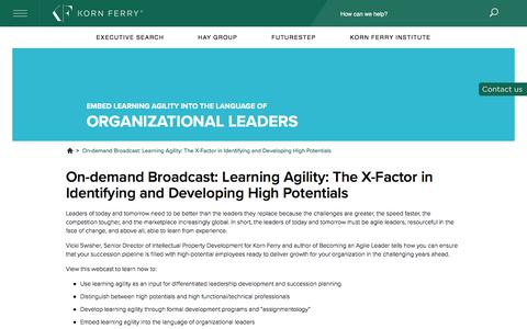 On-demand Broadcast: Learning Agility: The X-Factor in Identifying and Developing High Potentials