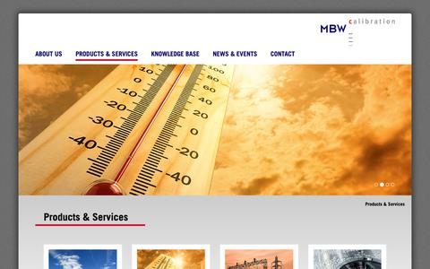 Screenshot of Products Page mbw.ch - Products & Services - MBW Calibration AG - captured Oct. 1, 2018