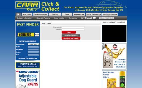 Screenshot of Login Page caarparts.co.uk captured Sept. 23, 2014