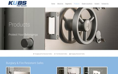 Screenshot of Products Page kubs.co.in - Kubs Safes & Locks |   Products - captured Oct. 6, 2014