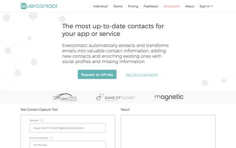 Screenshot of Developers Page evercontact.com - Developer & APIs | Evercontact - captured Feb. 27, 2017