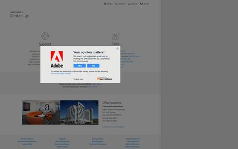 Screenshot of Contact Page adobe.com - Contact us | Adobe - captured Feb. 1, 2017