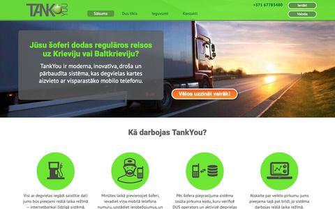 Screenshot of Home Page tank-you.lv - Aizvieto degvielas kartes ar visparastāko mobilo telefonu — TankYou - captured Oct. 1, 2018