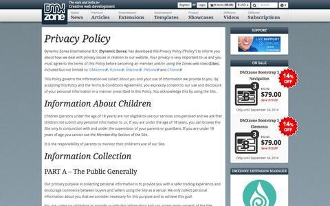 Screenshot of Privacy Page dmxzone.com - Index - Privacy Policy - DMXzone.COM - captured Sept. 18, 2014