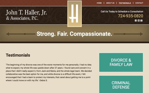 Screenshot of Testimonials Page hallerlaw.com - Testimonials | John T. Haller, Jr. & Associates | Cranberry Township, Pennsylvania - captured Feb. 11, 2016
