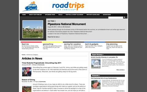 Screenshot of Press Page roadtripsforfamilies.com - News | Road Trips For Families - captured Oct. 9, 2014