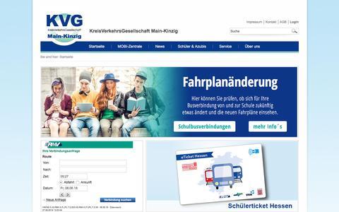 Screenshot of Home Page kvg-main-kinzig.de - KreisVerkehrsGesellschaft Main-Kinzig - captured June 8, 2018
