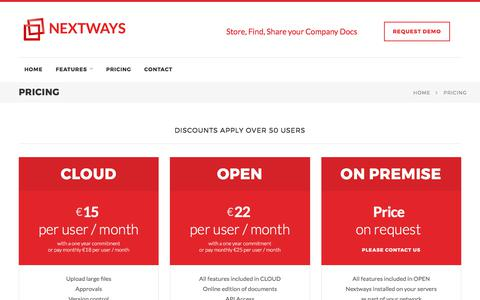 Screenshot of Pricing Page nextways.com - Nextways - Document & Projects - captured June 16, 2017