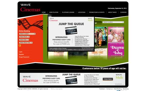 Screenshot of Home Page Contact Page Jobs Page Login Page Locations Page wavecinemas.com - WAVE CINEMAS - captured Sept. 24, 2014